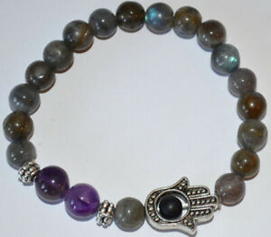 Labradorite Amethyst Energy Healing Protection Spiritual Gemstone Hamsa Bracelet