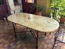 Naturstein Tischplatte Granit Madura Gold oval Terrassentisch Esstisch Garten