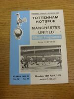 13/04/1970 Tottenham Hotspur v Manchester United  (Score Noted On Cover & Team C