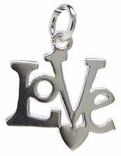 925 Sterling Silver LOVE and HEART PENDANT 21mm Drop Ladies Word