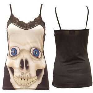 SKULL BLUE EYES LACE NECK STRAPPY Vest top Alternative Gothic