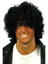 AFRO WET LOOK WIG MENS FANCY DRESS ACCESSORY BLACK 80S AFRO STYLE WIG