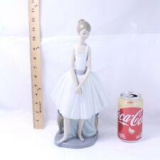 Rare Nao by Lladro Large Standing Ballerina & Stool Glossy Figurine