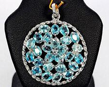 TOP! Pendentif Zircon bleu 46 Ct diamètre 3 cm - Argent 925 plaqué or blanc 14k