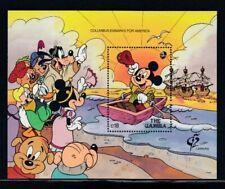 GAMBIA Disney Characters in Columbus Embarks for America MNH souvenir sheet