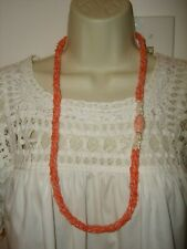 """Vtg Chinese Angel Skin Pink Carvel Coral Freshwater Pearl Beads Necklace 32"""" L"""