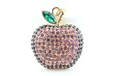 Purple Apple Fruit Keychain Crystal Charm Animal Purse Gift Cute Accessory F3D