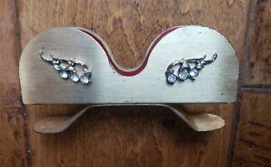 Vintage Gold Tone Metal Eye Glass Holder with Rhinestones Vanity Bedazzled Frame