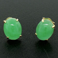 14K Yellow Gold 3.20ctw Oval Cabochon Green Jade Petite Oval Stud Post Earrings
