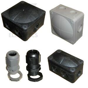 Wiska Combi Black / Grey Junction Boxes - 20mm Cable Glands IP68 - 308 407 GLP20