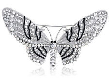 Clear Crystal Rhinestone Encrusted Fairy Butterfly Moth Insect Design Brooch ZJ6