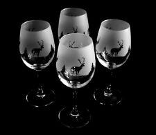 More details for scottish stag (highland scene) gift wine glasses set of 4 glasses boxed