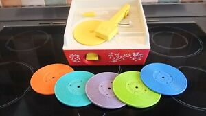 1970s, VINTAGE FISHER PRICE RECORD PLAYER WITH 5 X RECORDS.