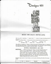 Vintage Laura Wheeler Needlecraft Knitted Misses & Child Capes Design #951 NEW
