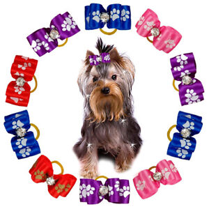 50/100pcs Cute Dog Hair Bows for Small Dogs Hair with Rubber Bands Grooming Pink