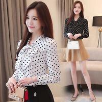 Korean Women Chiffon Polka Dot Bows Tie Neck Bottom Shirt Office Prom Top Blouse