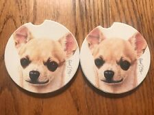"""PAIR OF BRAND NEW """" CHIHUAHUA """" STYLE ABSORBENT STONE CAR COASTERS Made in USA"""