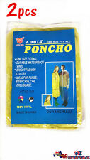 2x Waterproof Vinyl Hoodie Poncho Rain Coat One Size Fits All Raincoat YW