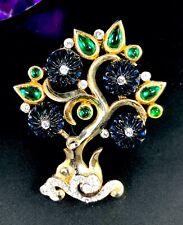 RARE 1949 CROWN TRIFARI SAPPHIRE MOLDED GLASS CABOCHON MOGHUL INDIA TREE BROOCH