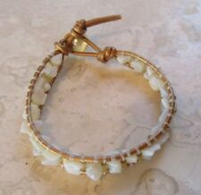 Opal Bracelet Natural Opal Chips and Gold Glass Tubes on Gold Leather Vtg Button