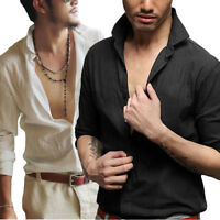 New Mens' Long Sleeve Casual Shirts V-Neck Slim Fit Stylish Dress Shirts Tops
