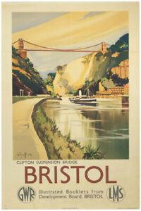 Vintage Bristol Suspension Bridge Railway Travel Poster Print A1/A2/A3/A4