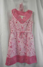 Munki Munki Nightgown With Headband Size XS NWOT 100% Cotton Pink Floral Hearts