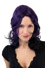 À LA MODE PERRUQUE pour femmes raie au milieu Noir & Violet bouclé affiler