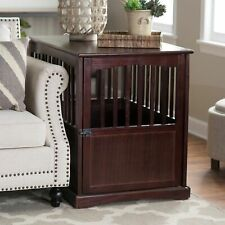 Large Dog Pet Crate Wooden End Table Nightstand Espresso Living Room Bedroom