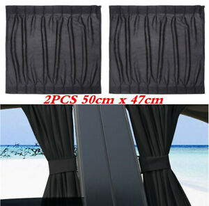 2Pcs Car Sun Shade Side Window Curtain Foldable UV Protection Accessories Kit