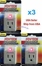 New 3 pack single outlet surge protector with power suppressor 270 joules