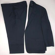 Pronto Uomo 48R Blue Suit 2 Button Platinum Executive Fit Wool Side Vents Mens
