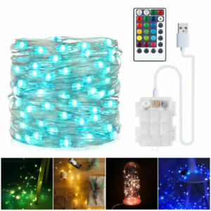 33Ft 100 LED RGB String Lights Battery&USB Powered Fairy Lights W/ Remote Timer