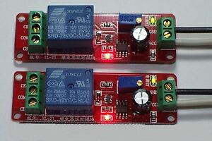 2PCS 12 VDC ADJUSTABLE ON DELAY TIME 0 TO 10 SECONDS 10 AMP RELAY BOARD USA !!