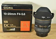 SIGMA EX 10-20MM 1:4-5.6 DC HSM NIKON LENS FRONT & REAR CAPS HOOD & BOX