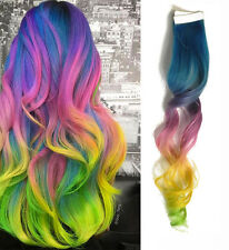 20x Tape in Rainbow Human Hair Extensions Blue Lavender Pink Yellow Green Ombre