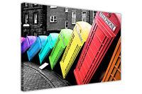 RAINBOW COLOUR LONDON TELEPHONE BOXES CANVAS WALL ART PRINTS DECORATION PICTURES