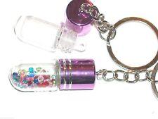 1 perfume vial Glass pendant tube bottle Screw Cap Keychain fill key ring Purple