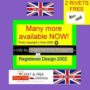 Car windscreen VIN Plate Chassis Number Horse box quad bike Trailer FREE RIVETS