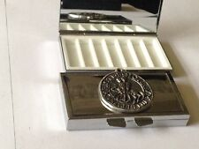 Templar Seal code dr70 Fine English Pewter On Mirrored 7 Day Pill box Compact