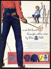 1954 Wrangler blue jeans cowgirl cowboy with brand art vintage print ad