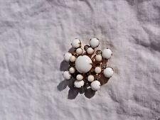 Vintage Gold-toned Snowflake/Star Burst White Cabochon & Clear Rhinestone Pin