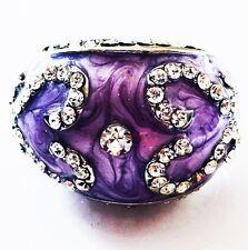 USA RING Rhinestone Crystal Fashion Gemstone Silver SIZE-8 QUEEN PURPLE