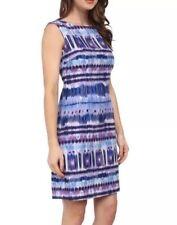 Tahari ASL LUCAS Cerulean Blue Lavender Print Linen Blend Sheath Sz 10 $118