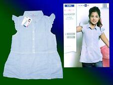 Rayé Mädchenbluse Blouse Tunique Top Chemisier Taille 152 Coton Neuf