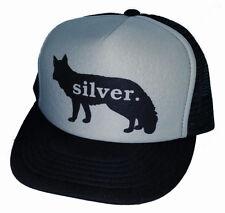 Silver Fox Snapback Mesh Trucker Hat Cap Black Gray Man Hair