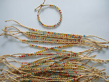3 x Natural Woven Raffia With Glass Rainbow Beads Lucky Friendship Bracelet 25cm