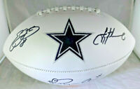 AIKMAN, IRVIN & SMITH / AUTOGRAPHED DALLAS COWBOYS WHITE FOOTBALL / PLAYER HOLOS