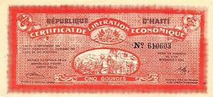 Haiti  5  Gourdes   1.10.1962   redeemed 9/1/64  Uncirculated Banknote Sue4