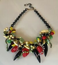 Pearl & Diamanté Statement Necklace With Citrus Fruit & Berries - Black Onyx